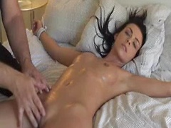 Softcore amateur BDSM with oiled nice housewife fixed and teased