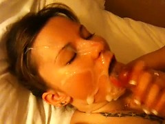 Hot wife getting her mouth full of cum after hard deep blowjob